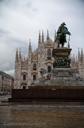 View of the duomo di Milano with the equestrian statue of Vittorio Emanuele II