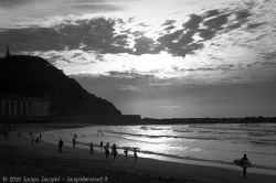 Sunset in san sebastian during the semana grande